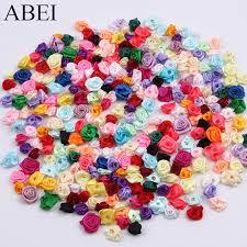 300pcs 15mm <b>Mix Color</b> small <b>rose flower</b> mini <b>handmade</b> satin ...