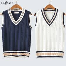 Sweater Vest <b>Men Autumn Winter Plus</b> Velvet V neck Striped Big ...
