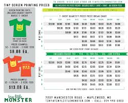 price quote tiny little monster custom t shirt screen print price sheet