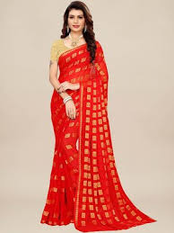 Akhilam Sarees : Buy Akhilam <b>Red Party</b> Chiffon Woven Saree With ...