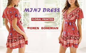 Temofon Women's Dresses Summer <b>Bohemian</b> Vintage Floral ...