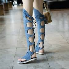 <b>Women Lace Up Strappy</b> Thigh High Gladiator Sandals Over Knee ...