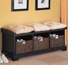 storage bench for living room: benches storage bench with baskets   benches storage bench with baskets