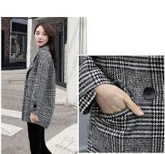 <b>2019</b> Spring Autumn <b>Women Woolen Coat</b> Korean Houndstooth ...