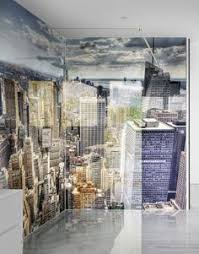 rhodes pursuit mm bathroom vanity unit: new york skyscrapers elevated view printed acrylic shower panels