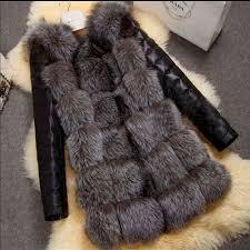 2019 New <b>High</b> Quality <b>High Imitation</b> Silver Fox <b>Fur Coat</b> PU ...
