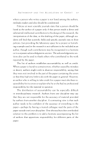 authorship and the allocation of credit on being a scientist a page 37