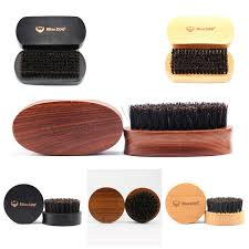 Natural Bristle <b>Beard</b> Brush Wood Circular <b>Black</b> Sandalwood ...