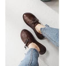 <b>2019 VALLU Women</b> Shoes Flats Round Toe Lace Up Genuine ...