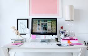 chic white office with white campaign desk clear glass gourd lamp and desk accessories chic office desk