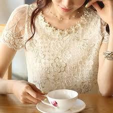 fashion <b>Summer New</b> Offer women's chiffon <b>shirt</b> lace top beading ...