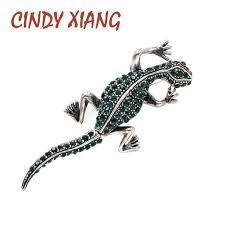 <b>CINDY XIANG</b> Dark Green Color Rhinestone Lizard Brooches for ...