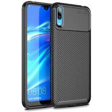 Huawei Y6 Y7 Pro <b>2019</b> Case <b>Carbon Fiber Silicone</b> Cover Soft ...