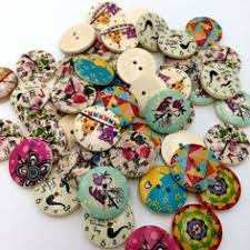 <b>100Pcs</b> Colorful Retro <b>Wooden</b> Sewing Buttons for DIY Craft Bag ...