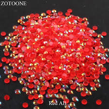 <b>ZOTOONE FlatBack</b> Resin Nail Art Red AB Glue On Rhinestones ...