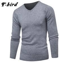 T-Bird 2018 модная одежда <b>мужской</b> Однотонный свитер простая ...