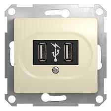 <b>Розетка USB</b> 2 порта <b>Schneider Electric</b> Glossa бежевая с/у SE ...
