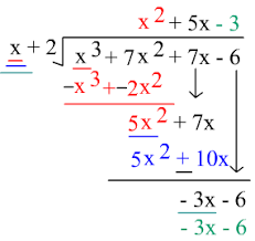Dividing polynomials by binomialsThis is written underneath the original polynomial (just like we would in an arithmetic long division problem.