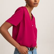 <b>Блузка</b> с v-образным вырезом, короткие <b>рукава La Redoute</b> ...