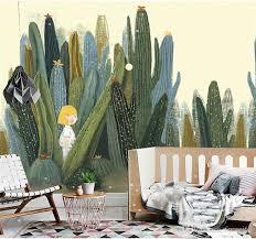 Large 3d <b>Cacti Wall</b> Murals Photo Wallpaper For Living - Cute <b>Wall</b> ...