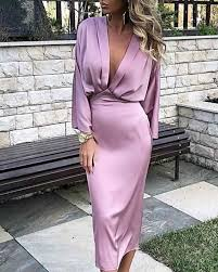 Solid Plunge Ruched Tight <b>Waist Satin Dress Women</b> Long Sleeve ...