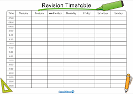 weekly revision timetable inspirenow timetable