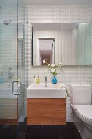 soft modern manhattan residence mid sized contemporary 3 4 bathroom idea in new york with flat alcove lighting ideas