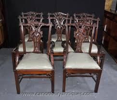 Chippendale Dining Room Table Baker Solid Oak Set Of 8 Chippendale Style Dining Chairs