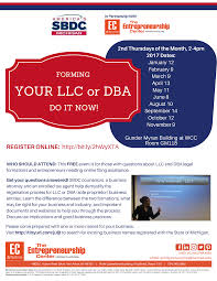 calendar workshops the entrepreneurship center sbdc llc dba flyer winter 2017