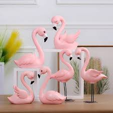<b>Creative Resin</b> Pink <b>Flamingo</b> Figure for Girl Ins Hot Animal <b>Home</b> ...