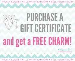 origami owl gift certificates independent designer jennylou 1186 gift certificate earn a charm