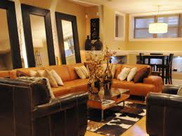living room design orange decorating