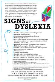 about dyslexia the reading clinic signs of dyslexia
