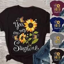 2020 new fashion butterfly sunflower print short sleeve T-shirt - Vova