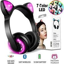 Xsmner Wireless <b>Bluetooth</b> Cat Ear <b>Headphones</b> with Mic 7 <b>Colors</b> ...