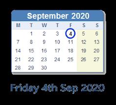 friday 4 september 2020