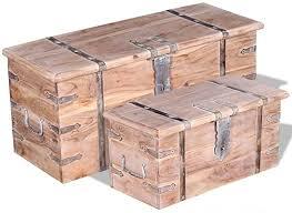 vidaXL <b>Two Piece Storage Chest</b> Set Wooden Trunk Coffee Side ...