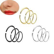 9pcs/<b>set human puncture</b> stainless steel C-shaped nose <b>ring</b> 6/8 ...