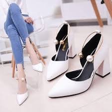 Online Shop Temperament <b>elegant pearl</b> high heels 2019 <b>new</b> white ...