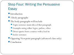 persuasive essay   step four  writing the persuasive essay ï'Â introduction