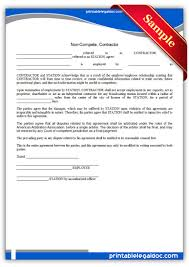 printable non compete contractor form generic