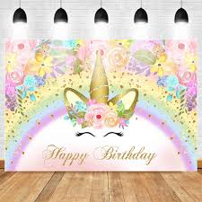 <b>Neoback Unicorn Themed Birthday Background</b> Baby One <b>Birthday</b> ...