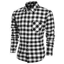 Fashion Mens <b>Casual Leisure</b> Grid Long Sleeve Lapel Shirts ...