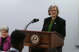 """Sr. Simone Campbell addresses U.S. Senators at the NETWORK Congressional Briefing March 25. """"The Pope and Politics: Messaging Francis's Hope and Justice"""" ... - CampbellSimone_Podium%2520(1000x667)"""