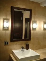 mirror design ideas wooden framed bathroom mirrors and lights modern contemporary simple brown hardwood solid bathroom mirrors and lighting