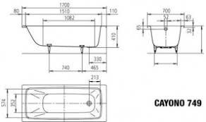 <b>Стальная ванна KALDEWEI Cayono</b> 170x70 standard mod. 749 ...