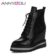 <b>ANNYMOLI Winter</b> Women Ankle Boots Platform Wedge Heels ...