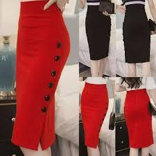 Womens <b>Pencil Skirt Office Stretch</b> Elastic Waist High Waisted ...
