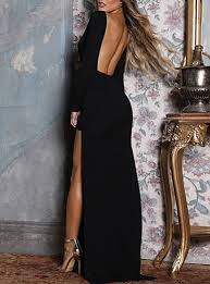 WMNS Evening Gown - <b>Backless</b> / <b>Side Split</b> / Black