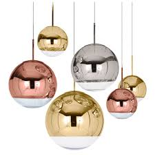 <b>LukLoy</b> Modern Mirror <b>Glass</b> Ball Pendant Light Copper Silver Gold ...